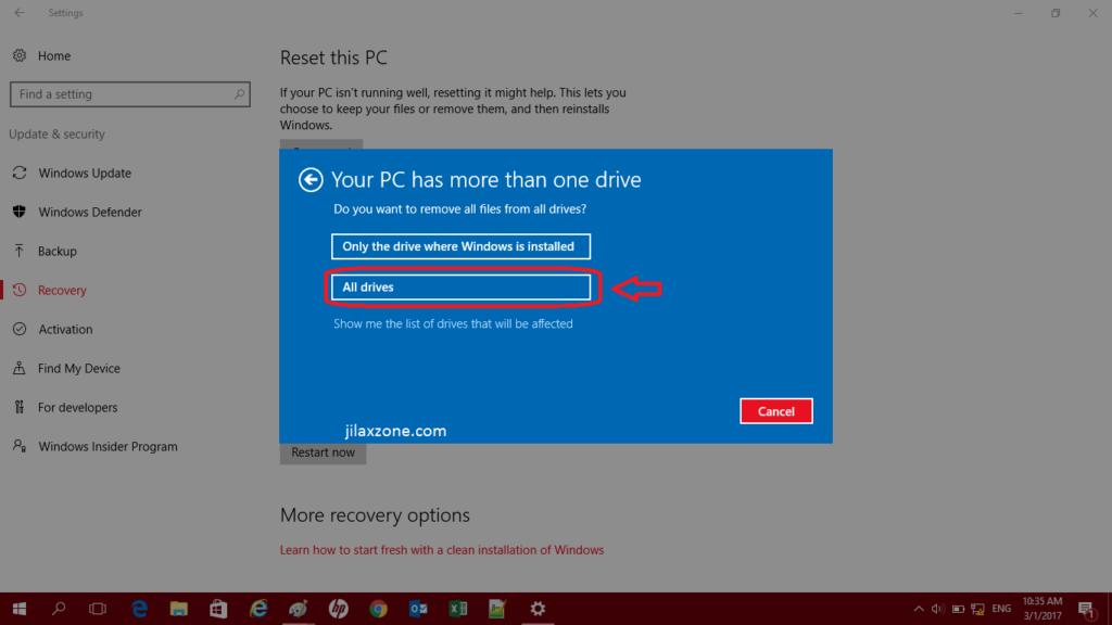 Reset Windows 10 jilaxzone.com Clean All Drives