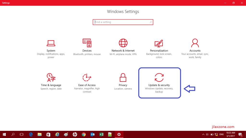 Reset Windows 10 jilaxzone.com Click Update and Security