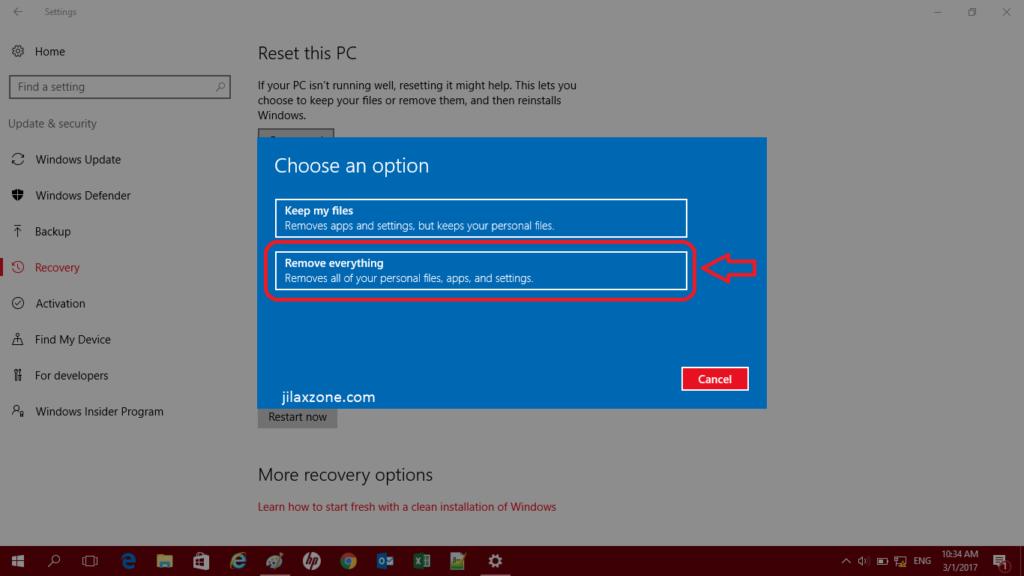 Reset Windows 10 jilaxzone.com Remove Everything