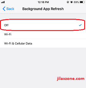 iPhone X jilaxzone.com turning off background app refresh