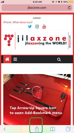 Bookmark on Safari jilaxzone.com Arrow Up Square Icon