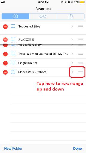 Bookmark on Safari jilaxzone.com Re-arrange bookmark up and down