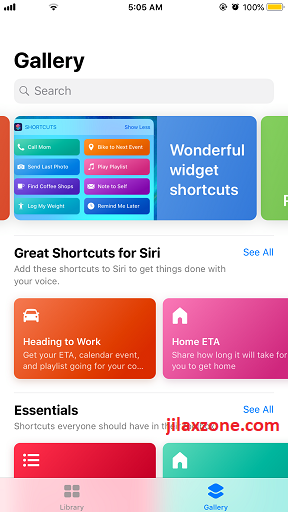 Siri Shortcuts Gallery jilaxzone.com