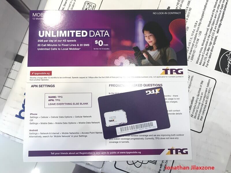 TPG Mobile Singapore FREE SIM Card Promotion jilaxzone.com