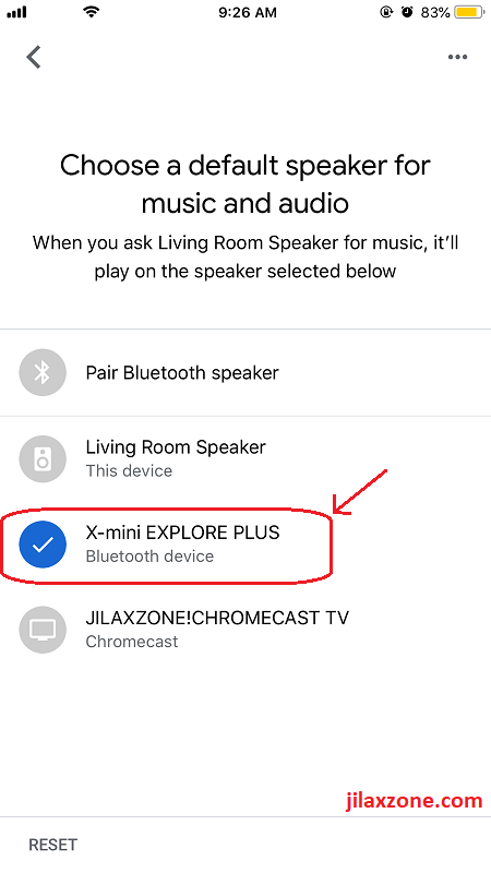 Google Home jilaxzone.com choose your bluetooth speaker