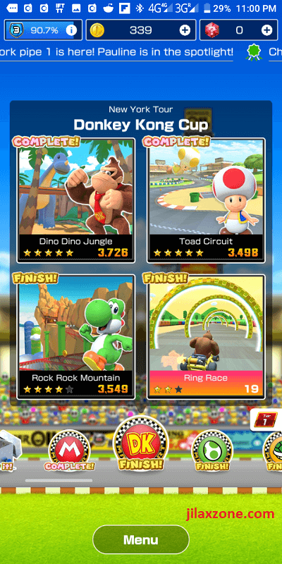 mario kart tour jilaxzone.com complete vs finish