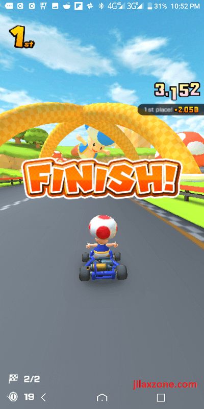 mario kart tour jilaxzone.com finish 1st winner