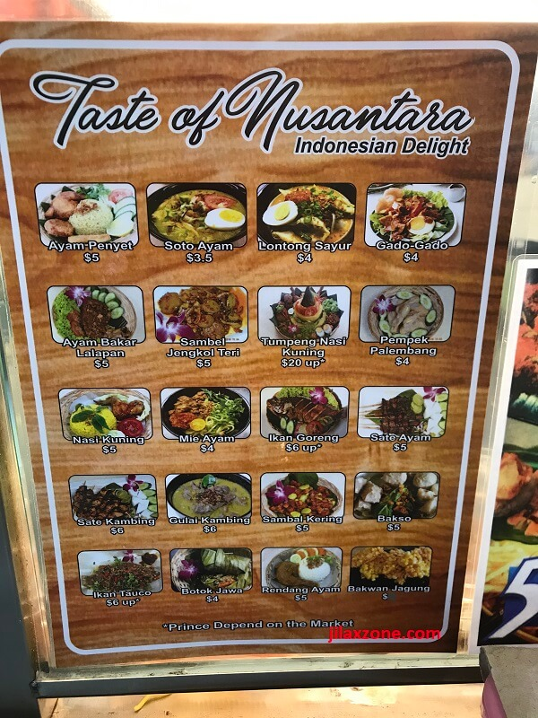 Menu Taste of Nusantara Indonesian delight jilaxzone.com