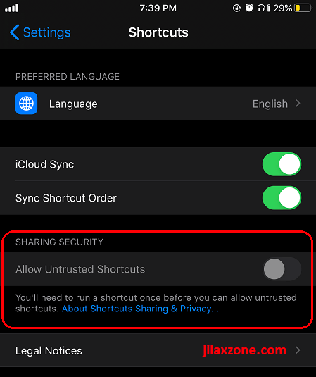 allow untrusted shortcuts jilaxzone.com