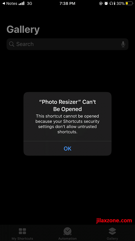 shortcuts cant be opened jilaxzone.com