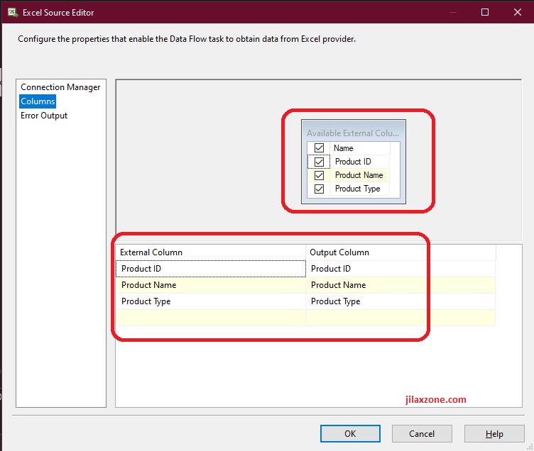 VS2019 SSIS column can see XLSX file jilaxzone.com