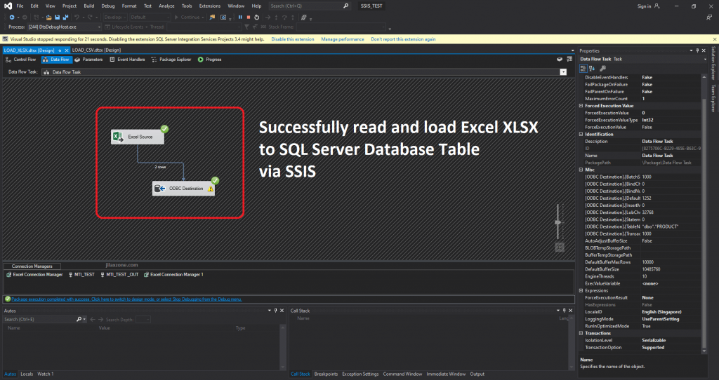 VS2019 SSIS managed to load XLSX jilaxzone.com
