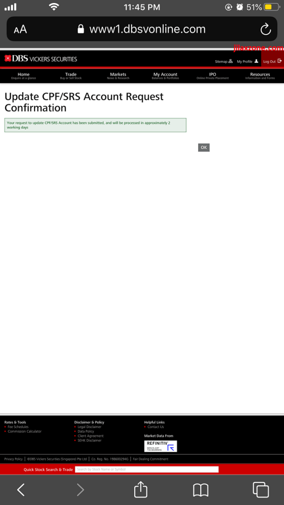 dbs vickers srs account confirmation jilaxzone.com