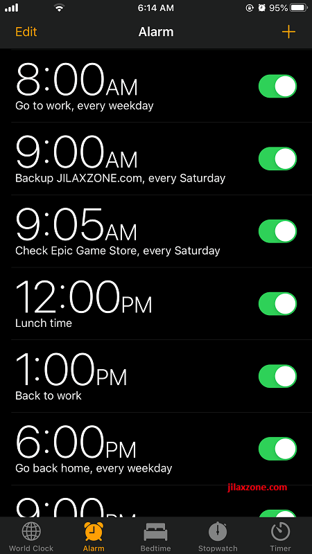 set alarm for everything jilaxzone.com