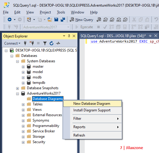 sql server generate new database diagram jilaxzone.com