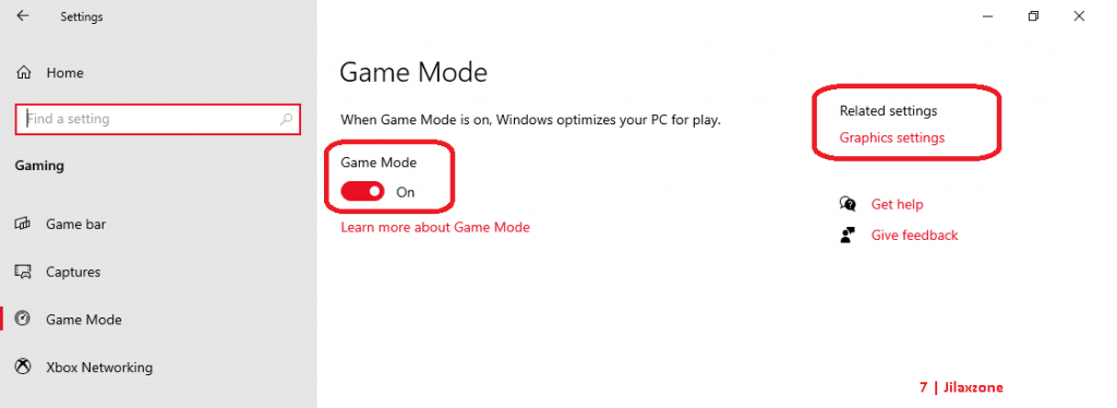 windows game mode on and graphics settings jilaxzone.com